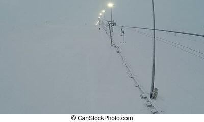 aérien, ascenseur, coup, réverbères, ski