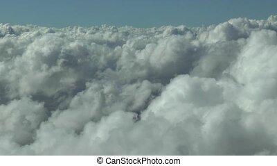 aérien, au-dessus, voler, footage., nuages
