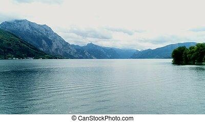 aérien, autrichien, lac, affichage montagne