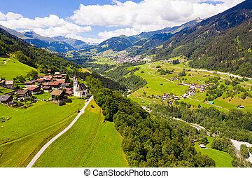 aérien, cavardiras, vue, alpes, village, vallée, suisse