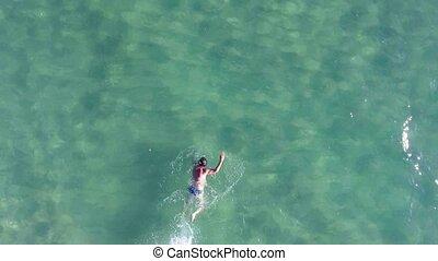 aérien, copter, sea., nage, homme, vue