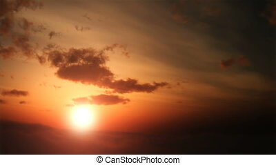aérien, coucher soleil