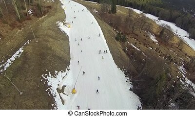 aérien, descendant, recours, ski, coup, ski, bukovel