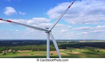 aérien, grand, vue, bourdon, éoliennes
