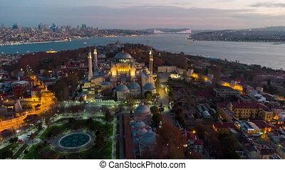 aérien, hagia, istanbul, vue, sophia, mosquée, night., timelaps