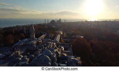 aérien, hagia, turquie, vue, sophia, topkapi, bleu, istanbul., mosquée, métrage, palais, (sultanahmet)