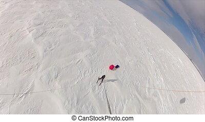 aérien, homme, coup, ski