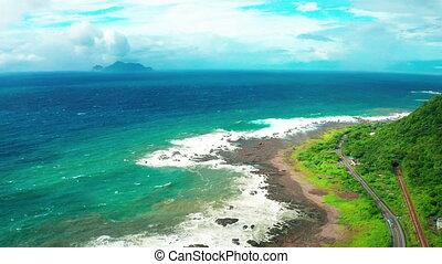 aérien, littoral, vue, guishan, île
