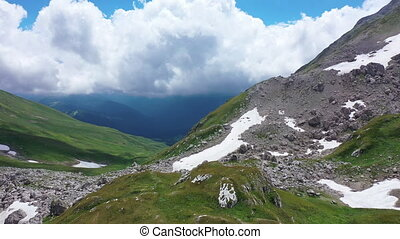 aérien, montagne, falaises, contre, rocheux, neigeux, coup, glacier, surprenant, paysage., arête, peaks., vue