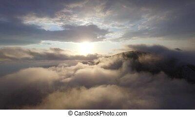 aérien, nuages, au-dessus, vue