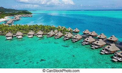 aérien, overwater, récif corail, recours plage, vacances, vidéo, voyage, pavillons