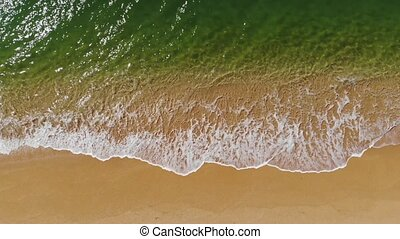 aérien, plage, bleu, mer, vagues, briser, sablonneux, vue, drone., océan, coup, beau, plage., sommet