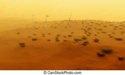 aérien, pouvoir électrique, turbines, (1121), sable, orage, désert, vent