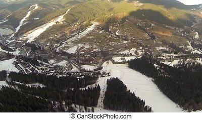 aérien, printemps, neige, recours, couvert, pentes, ski, bukovel, coup