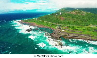 aérien, sandiao, vue, taiwan, cap, littoral, phare