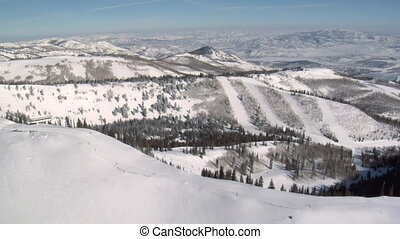 aérien, ski, coup, neige, secteur