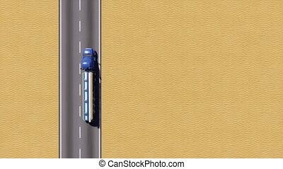 aérien, sommet, essence, camion, vue, désert, route, 3d
