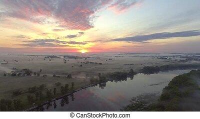 aérien, sur, brouillard, aube, rivière, vue