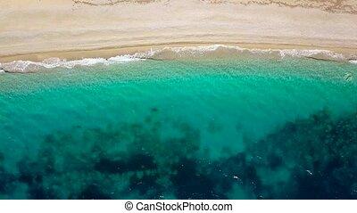 aérien, sur, surface, rivage, bourdon, enquête, mer