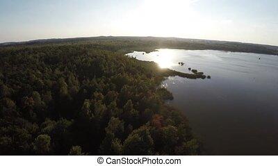 aérien, sur, voler, lac, photographie, forêt, belarus., réserve