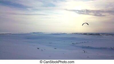 aérien, tirage air, tundra., vue, homme