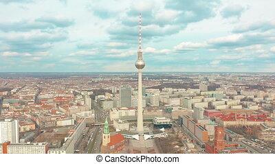 aérien, tv, berlin, coup, tour, germany., alexanderplatz