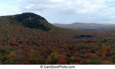 aérien, vermont., altitude, -, arbre, élevé, couleurs, bourdon, colline, automne, decend, sommet, pic