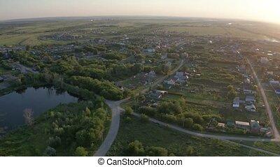 aérien, village, vue