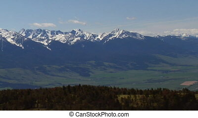 aérien, zoom, livingston, paradis, montana, vallée, dehors