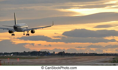 aéroport, avion, atterrissage, barcelone, commercial