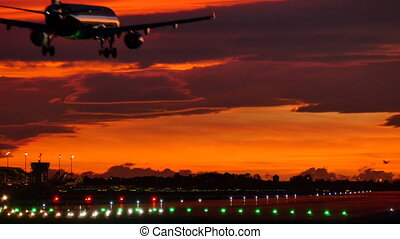 aéroport, avion, atterrissage, coucher soleil, barcelone, commercial