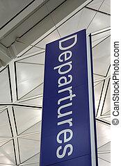 aéroport, départ, signe