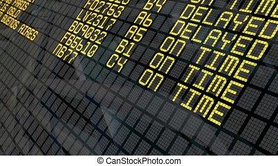 aéroport, départs, planche