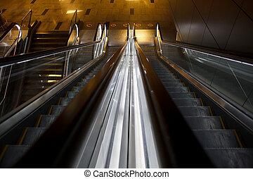 aéroport, escalators