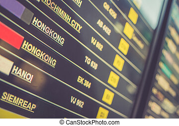 aéroport, exposer, planche, départs