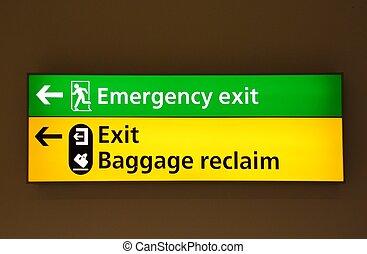 aéroport, informationnel, signes