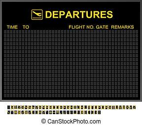 aéroport international, départs, vide, planche