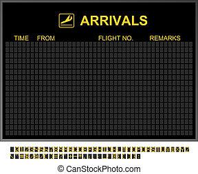 aéroport international, vide, arrivées abordent