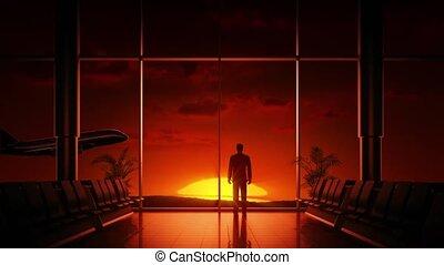 aéroport, levers de soleil