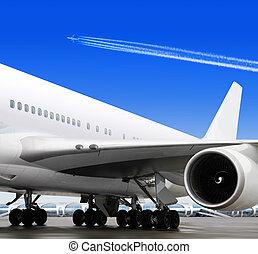aéroport, partie, avion