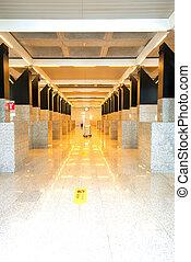 aéroport, perspective, couloir