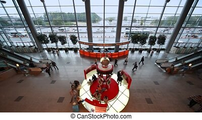 aéroport, salle, intérieur, russia., domodedovo, moscou