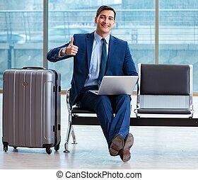 aéroport, sien, homme affaires, business, cla, attente, avion