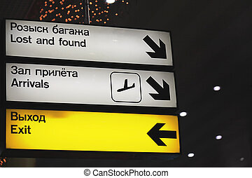 aéroport., signes, information