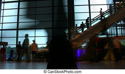 aéroport, silhouette, escalator, gens