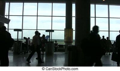 aéroport, sound., salle, gens