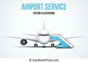 aéroport, vecteur, illustration., service
