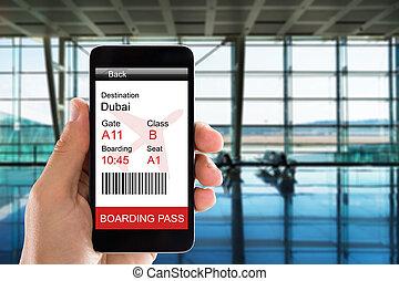 aéroport, vestibule, départs