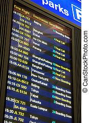 aéroport, vol, panneau départ