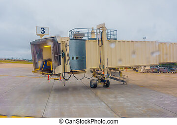 aéroport, vol, portail, garé